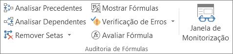 Grupo Auditoria de Fórmulas no separador Fórmula