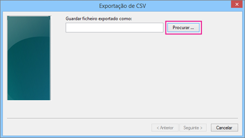 Selecione Procurar para atribuir um nome ao ficheiro.