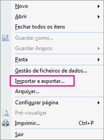 Selecione Importar e Exportar.