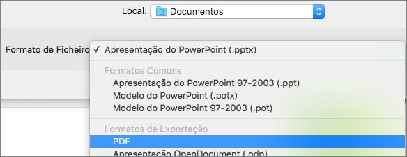 Mostra a opção de PDF na lista de Formatos de Ficheiro na caixa de diálogo Guardar Como no PowerPoint 2016 para Mac.