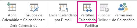 Botão Partilhar Calendário no separador Base do Outlook 2013
