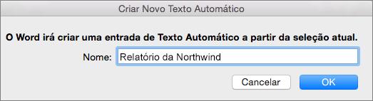 Caixa de diálogo Criar Novo Texto Automático