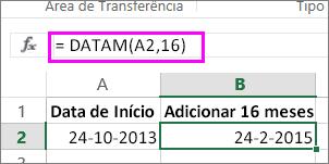 utilize a fórmula DATAM para adicionar meses a uma data