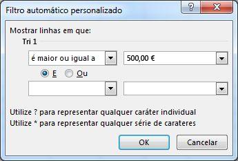 Caixa de diálogo Personalizar Filtro Automático