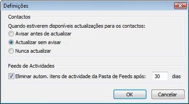 Caixa de diálogo Definições do Outlook Social Connector