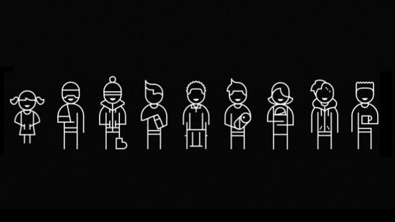Ilustração com 9 figuras humanas