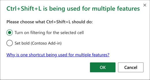Caixa de diálogo de conflito de atalhos de teclado a listar as ações possíveis