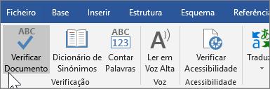 A mostrar Verificar Documento no separador Rever