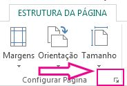 Iniciador de caixa de diálogo Configurar Página
