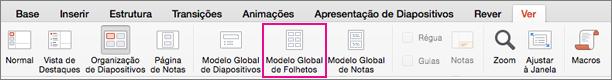 Botão Modelo Global de Folhetos no separador Ver