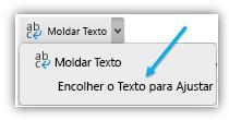 Captura de ecrã a mostrar o botão Encolher o Texto Para Ajustar no friso.