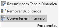Converter uma tabela do Excel num intervalo