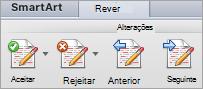 Opções em alterações no separador Rever