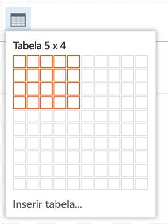 Adicionar uma tabela simples no Outlook na Web.