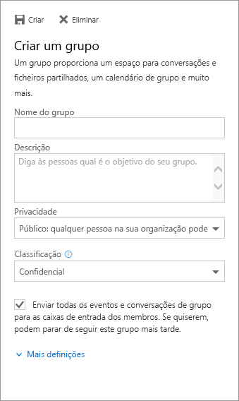 Criar um painel de grupos com todas as informações preenchidas