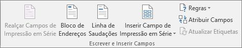 O grupo de campos Escrever e Inserir permite-lhe inserir campos num documento para impressão em série.