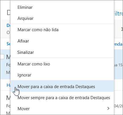 Captura de ecrã da Caixa de Entrada, com a opção Filtrar > Mostrar Caixa de Entrada Destaques selecionada.
