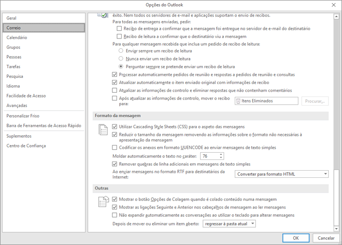 Página de opções do Outlook com a categoria de correio realçada