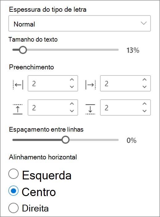 Escolhas de formato de texto