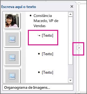 Painel Texto do gráfico SmartArt com o controlo painel Texto e [Texto] realçado