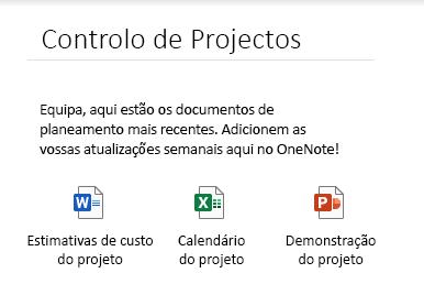 Ficheiros incorporados numa página no OneNote para Windows 10