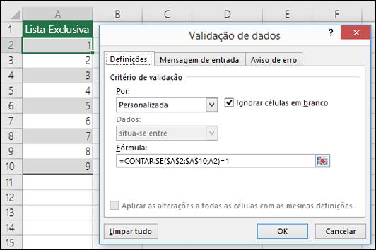 Exemplo 4: Fórmulas na validação de dados