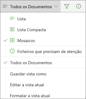 Vista de biblioteca de documentos do Office 365 alterar