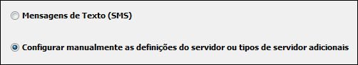 Configurar manualmente as definições de servidor do Outlook 2010