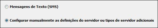 Configurar manualmente as definições de servidor do Outlook 2010