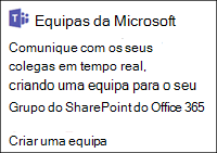 Criar uma equipa da Microsoft