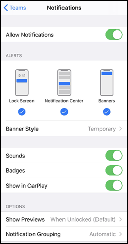 Captura de ecrã da permissão no menu de notificações num dispositivo iOS