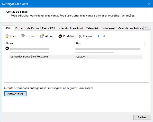 Caixa de diálogo Definições da conta do Outlook