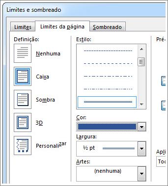Definir opções para limites de página