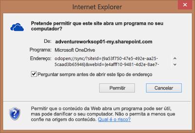 Captura de ecrã da caixa de diálogo no Internet Explorer a pedir permissão para abrir o Microsoft OneDrive