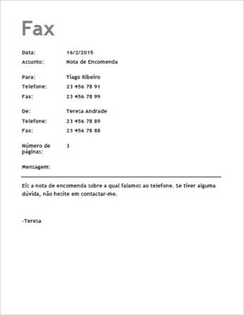 Modelo de Folha de Rosto de Fax