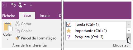 Captura de ecrã da lista de etiquetas no OneNote 2016.