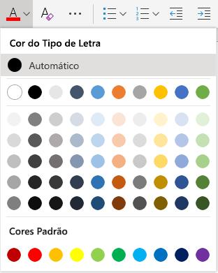 Menu de seleção de cores de fonte online word online