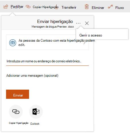 Captura de ecrã da caixa de diálogo Partilhar com a mostrar a ligação de gerir o acesso depois de clicar nas reticências.