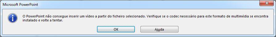 erro relacionado com o codec de compatibilidade de vídeo