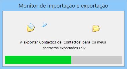 Um imagem da caixa de progresso de exportação.