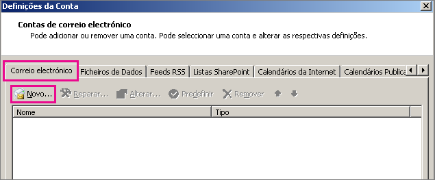 Captura de ecrã a mostrar o separador Correio Electrónico na caixa de diálogo Definições de Conta.