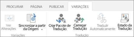 Imagem de tela do separador variações do local do alvo. O separador contém dois grupos, variação e tradução