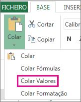 Comando Colar a mostrar Colar Valores no Excel Web App