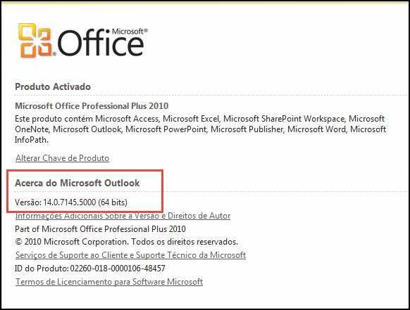 Captura de ecrã da página onde pode verificar a versão do Outlook 2010, em Acerca do Microsoft Outlook