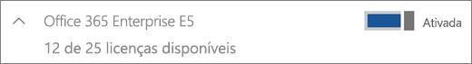 Mostra uma licença do Office 365 Enterprise E5 com 12 licenças disponíveis.