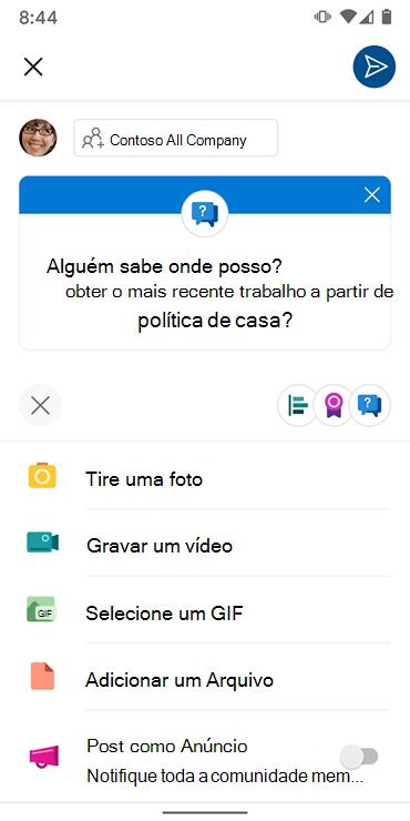 Screenshot mostrando composição de uma conversão com a app Andriod Yammer
