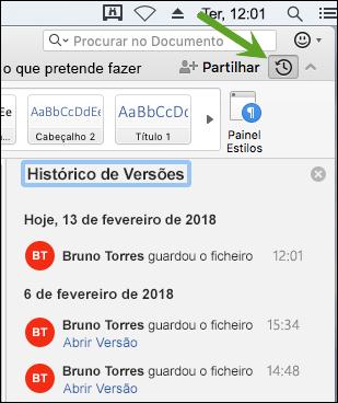 O botão Histórico de Versões abre o painel de histórico de versões, que lhe permite selecionar versões anteriores do seu documento.