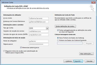 Caixa de diálogo da configuração manual da conta