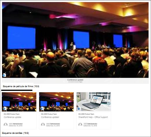 Exemplos de imagem de parte web de conteúdo destacado