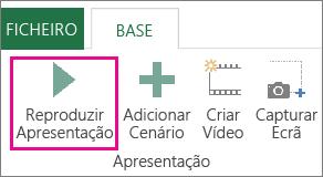 Botão Reproduzir Visita na janela Power Map